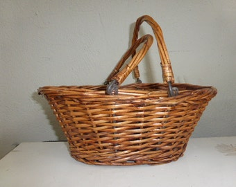 Pretty little basket with handles, wicker, metal rods vintage