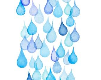 Raindrops art print, bathroom wall art, modern watercolor painting, raindrop bubbles art, kids room nursery art decor, abstract rain drops.