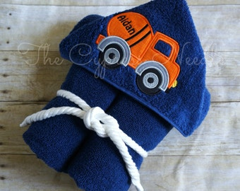 Cement Mixer Hooded Towel, Construction Hooded Towel, Cement Mixer Towel, Personalized Towel, Truck Hooded Towel, Boys Hooded Towel