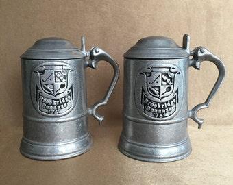 Pewter Steins, Pewterex PA, Brookridge Bonanze, Lidded Steins, Vintage Barware, Beer Steins, Sports Theme Stein, Silver Metal, Collectible