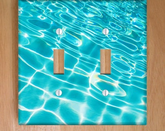 Pool Ripples Vinyl Double Light Switch Cover, Outlet Cover, Pool, Nautical, Tropical Wallplate, Beach Decor, Aqua Decor, Vinyl Stickers