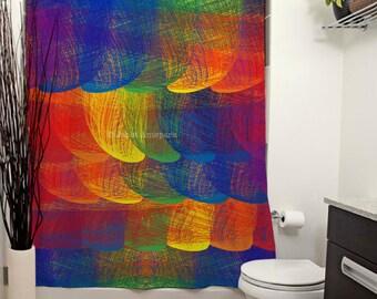 Rainbow Patch Printed Shower Curtain, Rainbow, Modern Art, Bathroom Decor, Curtain, Art, Bright, Colorful, For Kids, Colorful Decor, Colors