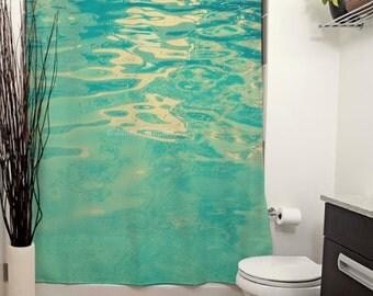 Summer Waters Printed Shower Curtain. Tropical Bathroom Decor, Beach Batch Decor, Aqua, Nautical Home Decor, Pool Decor, Waves, Teal Bath