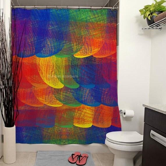 Printed Shower Curtain, Rainbow, Modern Art, Bathroom Decor, Curtain ...