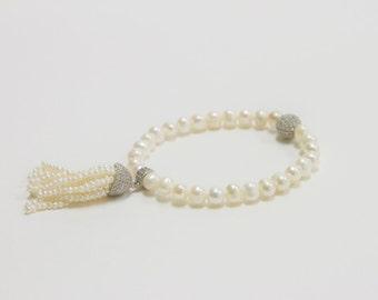 Pearl with cz's Bracelet