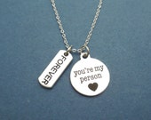 Forever, You're my person, Grey's Anatomy, You are my person, Greys Anatomy, Necklace, Love, Friendship, Best friend, Gift, Jewelry