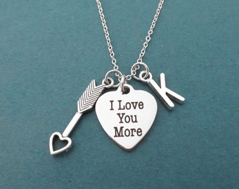 Personalized, Letter, Initial, I love you more, Cupid's arrow, Silver, Heart, Necklace, Lovers, Mom, Sister, Best friends, Gift, Jewelry