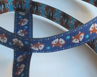 Woven Ribbon 16 mm - foxes/Obsidian - Fox ornaments
