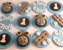 Edible Fondant Thomas The Tank Engine Cupcake Toppers 3 of each design -Thomas Train, Tracks, Choo Choo and age
