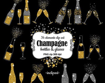 Champagne Clipart. Bottles & glasses glitter overlay clip art. Gold and silver glitter clipart. Instant digital download. PNG format.