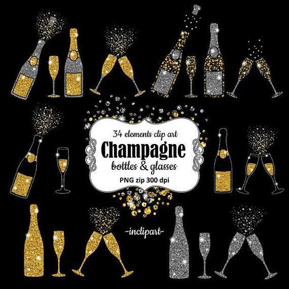 Champagne Clipart. Bottles & glasses glitter overlay clip art.