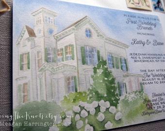 Custom Wedding Brunch Invitations - Watercolor Wedding Stationery - Jedediah Hawkins Inn - Custom Venue Invitations