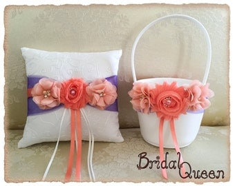 Light Coral and Purple Flower Girl Basket, Wedding Ring Bearer Pillow, Wedding Ring Pillow, Wedding Pillow, Flower Girl Basket, Ring Pillow
