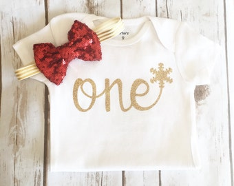 First Birthday Outfit Girl - Christmas - Winter Wonderland - Onderland - Cake Smash - One Outfit - One Cake Topper -  1st Birthday
