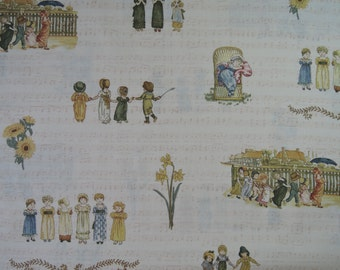 "Half yard of 2015 Lecien Kate Greenaway Fabric on Ivory Background. (31309-20)Approx. 18"" x 44"" Made in Japan"