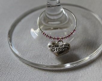 Custum Order/Mother of the Groom Wine Charm, Wedding favor, Wine Charms, Wedding gifts