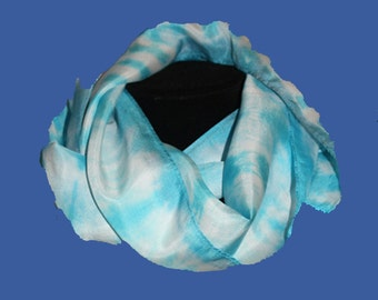 Blue and White Silk Scarf - blue scarf, gift under 20