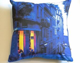 "Saint Malo France Cushion Cover, French Pillow 41 x 41cm / 16"" x 16"" Designer Pillow Cover, Blue, Cotton Linen, Australian Made"