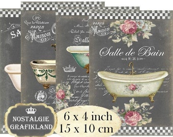 Chalkboard Salle de Bain Bath Bathtub Bathroom 6 x 4 inch Instant Download digital collage sheet D195