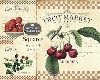Fruit Market Fruits 2x2 inch squares Instant Download digital collage sheet TW150 strawberries cherries rasberries apples