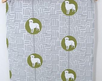 Golden Retriever Dog Breed Tea Towel, retriever dog dish cloth, kitchen gift - Grey, Khaki Green and White
