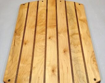 Maple Walnut Cutting Board Striped Curved