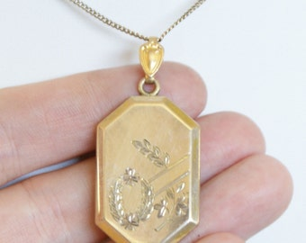 Antique c1930s 10k Gold gf Locket & Chain