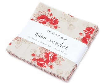 "Miss Scarlet by Moda 42 5"" Squares Charm Pack 100% Designer Cotton Fabric by Minick and Simpson 14810PP"