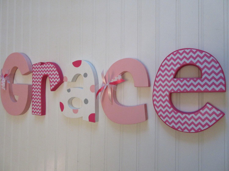 Nursery wall decor hanging nursery letters baby girl nursery for Baby nursery letters