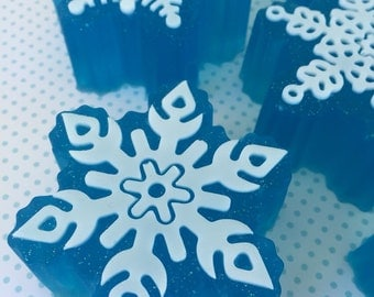 Snowflake Soap - Fresh Sparkling Snow - Christmas Soap - Winter Soap - Holiday Bath Gift - Kids Gift
