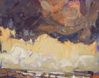"""Big Original oil painting -  """"Sun behind cloud"""" - Fine art - abstract expressionism painting"""