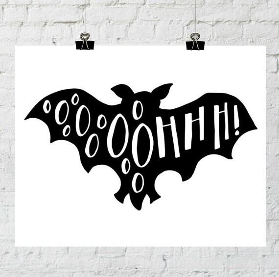 Bat Halloween Print, Fall Wall Art, Halloween Wall Art, Print, Silhouette Art, Creepy Wall Art, Halloween Art, Black and White, Vintage Art