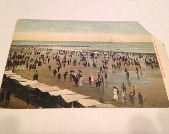 Atlantic City NJ 1920s Post Card Boardwalk Swimmers