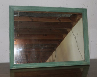 Large painted Shabby Chic teal mirror