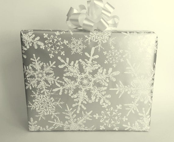 metallic silver and white snowflakes christmas wrapping. Black Bedroom Furniture Sets. Home Design Ideas