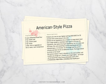 Editable Recipe Card, 4x6 card, downloadable PDF, watercolor splash backgrounds