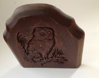 Wooden Carved Owl Bookend