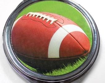 Football Inset Metal Compact Makeup Mirror Case MEN-0036