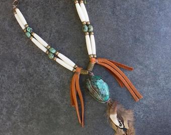 "Native American style necklace ""Abooksigun"""