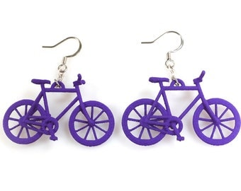 Bicycle Earrings - 3D Printed Nylon