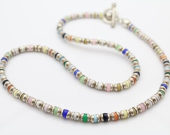 "Multicolor 18"" Sterling Silver and Cats-Eye Glass Beads. [6210]"