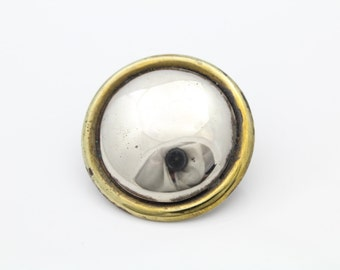 Taxco Vintage Sterling Silver Laton Brooch Two Tone Round. [6443]