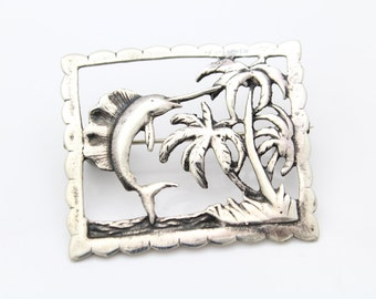 Large VTG Sterling Silver Tropical Beach Marlin Palm Tree Square Frame Brooch. [7375]