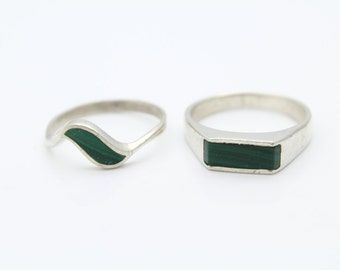 Pair of Vintage Size 8.75 Modern Style Rings in Malachite and Sterling Silver. [8117]