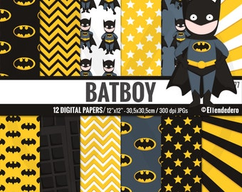Batman inspired digital paper pack, with batboy comic backgrounds to use in scrapbook, card making...