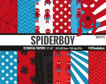 Spiderman inspired digital paper pack, with Spiderboy comic backgrounds to use in scrapbook, card making...