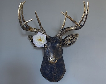 Faux Taxidermy Deer Stag Buck Head Decor Indigo Blue Brass Gold Rustic Wall Trophy Animal Antler Country Cottage  Sculpture Art-MySecretLite