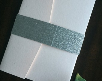 Gold Glitter belly bands for wedding invitations (100), not assembled