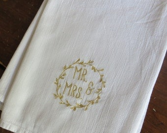"""Wedding Gift Personalized Cotton Absorbent Flour Sack Towels 28x28""""; Monogrammed Mr. & Mrs. inside Rustic Wreath"""