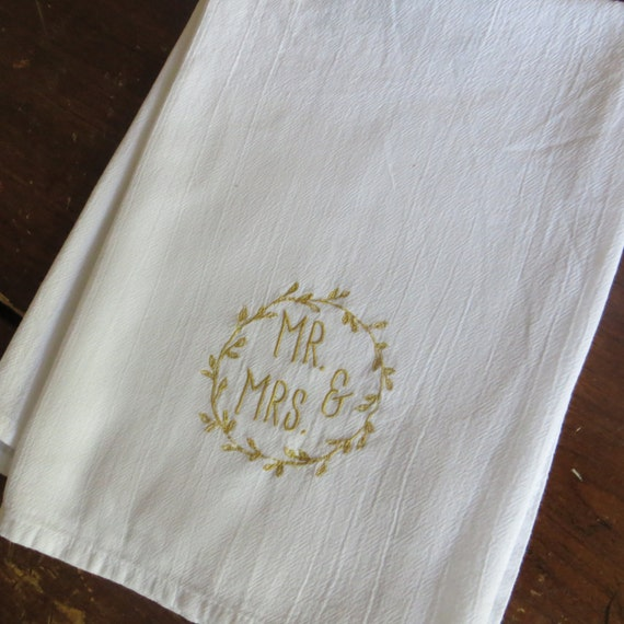 Embroidered Towels For Wedding Gift: Wedding Gift Personalized Cotton Absorbent Flour Sack Towels